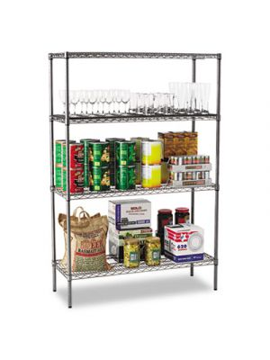 Wire Shelving Starter Kit, Four-Shelf, 48w x 18d x 72h, Black Anthracite