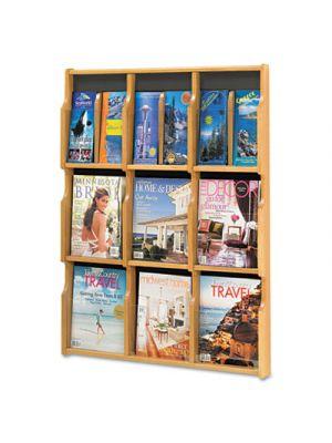 Expose Adj Magazine/Pamphlet Nine Pocket Display, 29-3/4w x 38-1/4h, Medium Oak