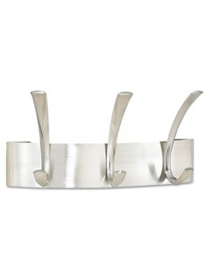 Metal Coat Rack, Steel, Wall Rack, Three Hook, 10-3/4w x 4-1/2d x 5-1/4h, Silver