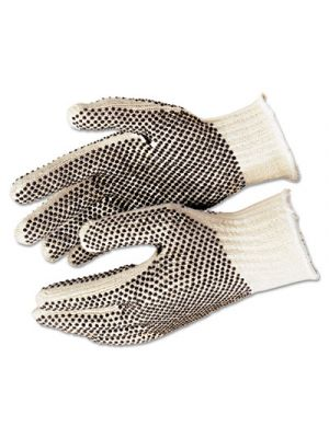 PVC Dot String-Knit Gloves, Cotton/Polyester, Large