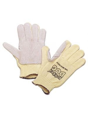 Men's Junk Yard Dog Kevlar Gloves, Leather Palm, Yellow, Men's