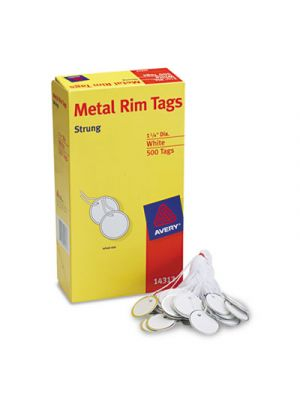 Heavyweight Stock Metal Rim Tags,  1 1/4 dia, White, 500/Box