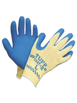 Tuff-Coat II Gloves, Blue/White, Large, Dozen