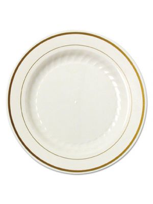 Masterpiece Plastic Plates, 6 in., Ivory w/Gold Accents, Round