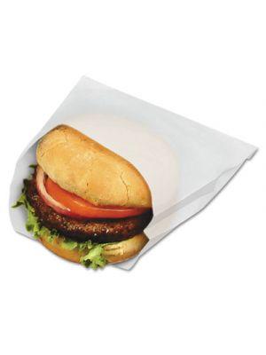 PB18/8 Grease-Resistant Sandwich Bags, 6w x 3/4 x 6 1/2h, White, 1000/Pk, 8/CT