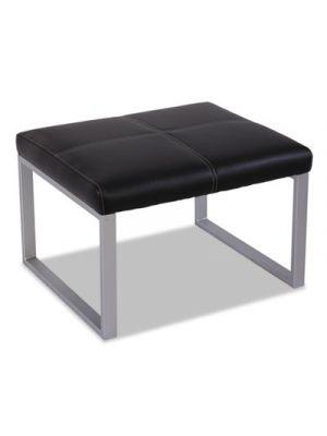 Alera Ispara Series Cube Ottoman, 26-3/8 x 22-5/8 x 17-3/8, Black/Silver