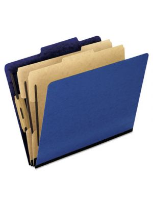 Six-Section Colored Classification Folders; Letter; 2/5 Tab; Blue; 10/Box