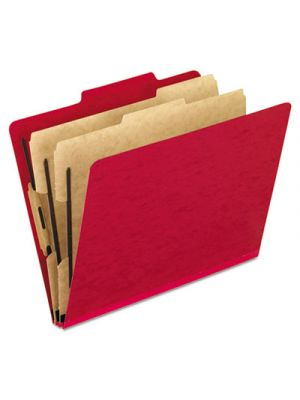 Six-Section Colored Classification Folders; Letter; 2/5 Tab; Scarlet; 10/Box