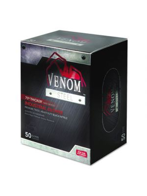 Venom Steel Industrial Nitrile Gloves, Large, Black, Powder-Free, 50/Box