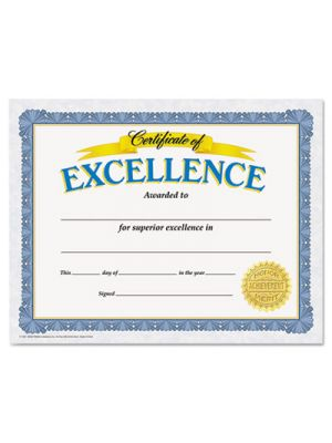 Awards and Certificates, Excellence, 8 1/2 x 11, White/Blue/Gold