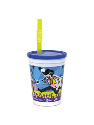 Plastic Kids' Cups w/ Lids and Whistle Straws, 12 oz., Rock Star Design, 250/CT