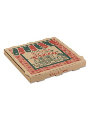 Corrugated Pizza Boxes, 14w x 14d x 1 3/4h, Kraft