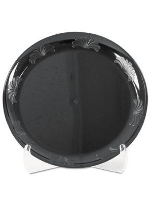 Designerware Plastic Plates, 9 Inches, Black, Round, 10/Pack