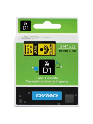 D1 High-Performance Polyester Removable Label Tape, 3/4 x 23 ft, Black on Yellow