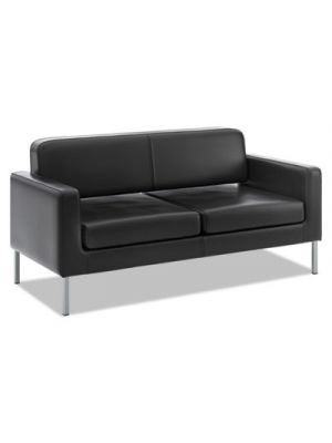 VL888 Series Reception Seating Sofa, 67 x 28 x 30 1/2, Black SofThread™ Leather