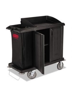Multi-Shelf Cleaning Cart, Three-Shelf, 22w x 49d x 50h, Black