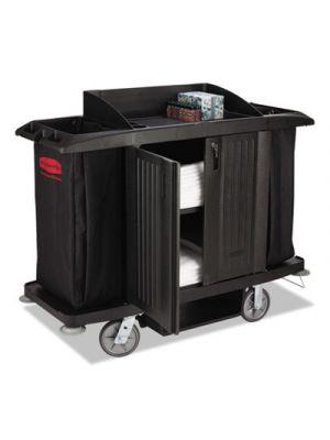 Full-Size Housekeeping Cart, Three-Shelf, 22w x 60d x 50h, Black