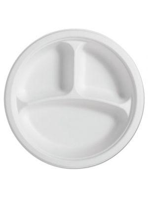 PaperPro Naturals Fiber Round Plates, 3-Comp, 10 1/4