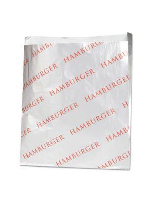 Foil Hamburger Bags, 6 x 3/4 x 6 1/2, Silver, 1000 per Carton