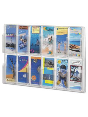 Reveal Clear Literature Displays, 12 Compartments, 30 w x 2d x 20 1/4h, Clear