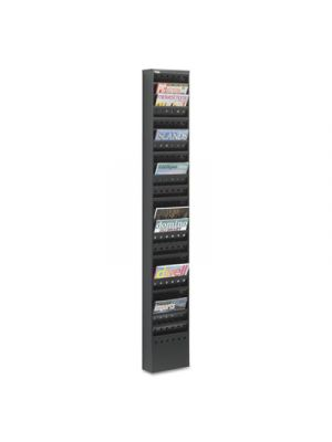 Steel Magazine Rack, 23 Compartments, 10w x 4d x 65-1/2h, Black