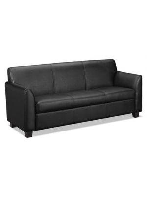 VL870 Series Leather Reception Three-Cushion Sofa, 73w x 28 3/4d x 32h, Black