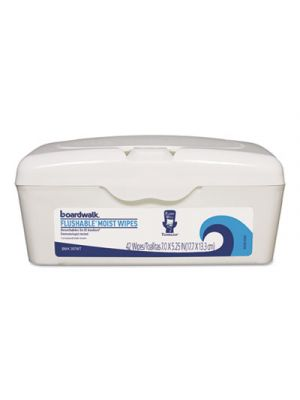 Flushable Moist Wipes, 7 x 5 1/4, Fresh Scent, 42/Tub