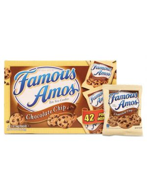 Famous Amos Cookies, Chocolate Chip, 2 oz Snack Pack, 42 Packs/Carton