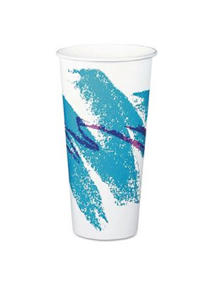 Double Sided Poly (DSP) Paper Cold Cups, 22 oz, White/Green/Purple, 1000/Carton