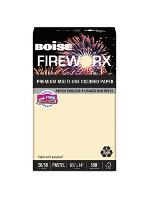 FIREWORX Colored Paper, 20lb, 8-1/2 x 14, Flashing Ivory, 500 Sheets/Ream