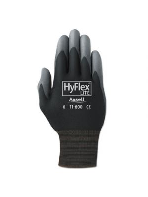HyFlex Lite Gloves, Black/Gray, Size 8, 12 Pairs