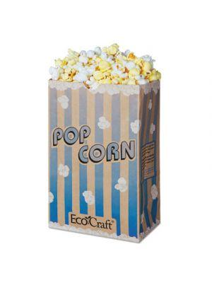 EcoCraft Grease-Resistant Popcorn Bag, 85 oz, Blue Stripe/Natural, 500/Carton