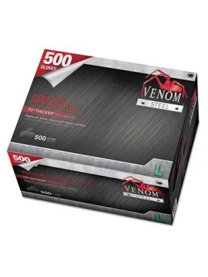 Venom Steel Industrial Nitrile Gloves, Large, Black, 6 mil, 500 Gloves/Box