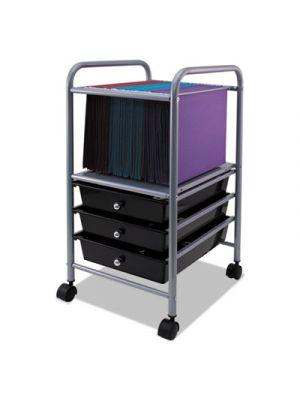Slim Profile Mobile File Cart, 13w x 15 3/4d x 26 1/4h, Black/Matte Gray