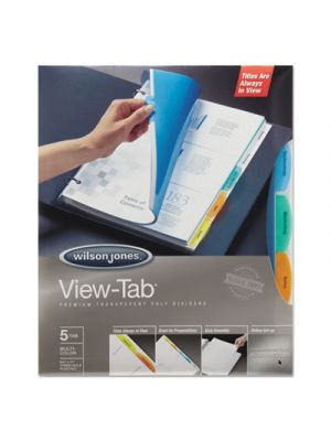 View-Tab Transparent Index Dividers, 5-Tab, Rectangle, Letter, Asstd, 5 Sets/Box