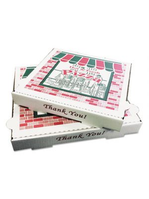 Takeout Containers, 12in Pizza, White, 12w x 12d x 1 3/4h, 50/Bundle