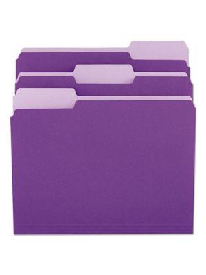 File Folders; 1/3 Cut One-Ply Top Tab; Letter; Violet/Light Violet; 100/Box