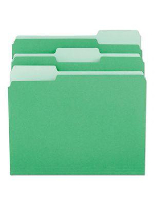 File Folders; 1/3 Cut One-Ply Tab; Letter; Green/Light Green; 100/Box