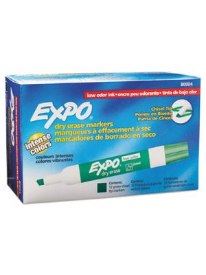 Low Odor Dry Erase Marker, Chisel Tip, Green, Dozen