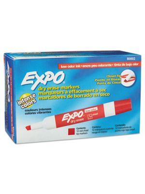 Low Odor Dry Erase Marker, Chisel Tip, Red, Dozen
