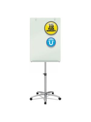 Infinity Glass Mobile Presentation Easel, 3 ft x 2 ft, Silver/White