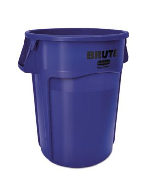 Vented Round Brute Container, 55 Gal, Blue, Resin, 3/Carton