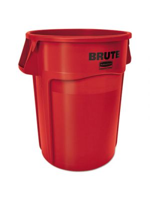 Round Brute Container, Plastic, 55 gal, Red
