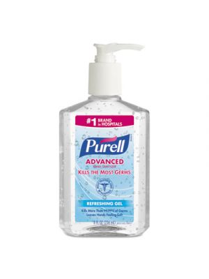 Advanced Instant Hand Sanitizer, 8 fl oz Pump Bottle, Clear, 12/Carton