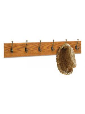 Wood Wall Rack, Six Double-Hooks, 35-1/2w x 3-1/4d x 6-3/4h, Medium Oak
