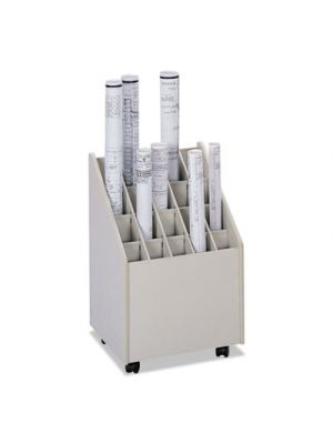 Laminate Mobile Roll Files, 20 Compartments, 15-1/4w x 13-1/4d x 23-1/4h, Putty