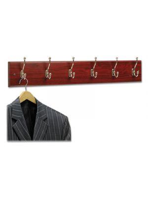 Wood Wall Rack, Six Double-Hook, 35-1/2w x 3-1/4d x 6-3/4h, Mahogany