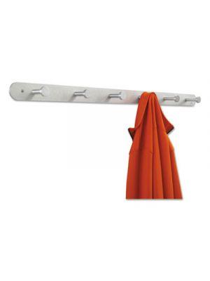 Nail Head Wall Coat Rack, Six Hooks, Metal, 36w x 2-3/4d x 2h, Satin Aluminum