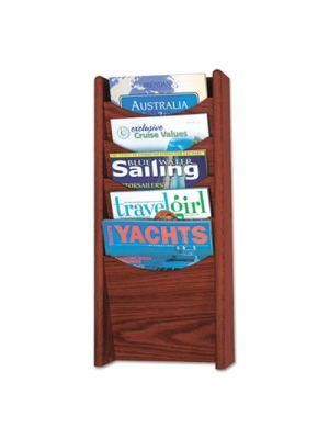 Solid Wood Wall-Mount Literature Display Rack, 11 1/4 x 3 3/4 x 23 3/4, Mahogany