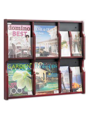 Expose Adj Magazine/Pamphlet Six Pocket Display, 29-3/4w x 26-1/4h, Mahogany